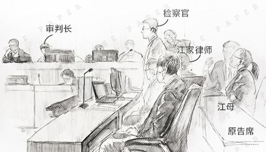 庭审现场手绘澎湃新闻记者 李媛 图案发始末