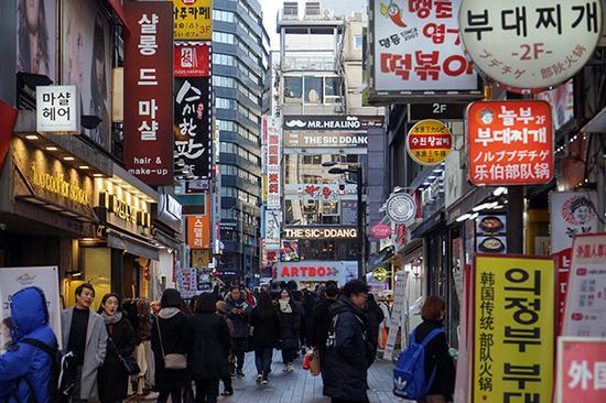 韩国首尔明洞大街 东方IC 资料图