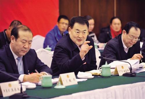1月23日下午,自治区政协主席任亚平与文化艺术界、新闻出版界、体育界委员一同讨论政府工作报告。