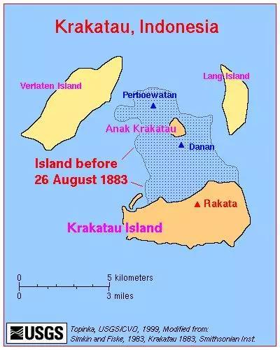 虚线部分是1883年8月26日火山爆发前的陆地