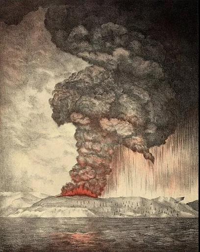 1883年印尼喀拉喀托火山大爆发    图源维基百科