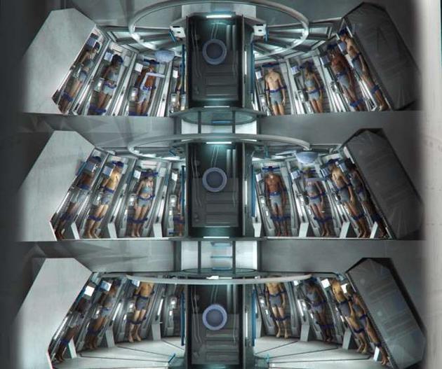 用于长期太空旅行的多人冬眠舱效果图
