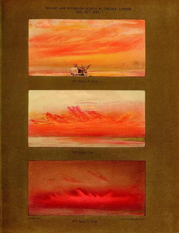 威廉・阿斯克罗夫特1883年的画作,他的一系列日落作品成了科学家研究喀拉喀托火山爆发的材料