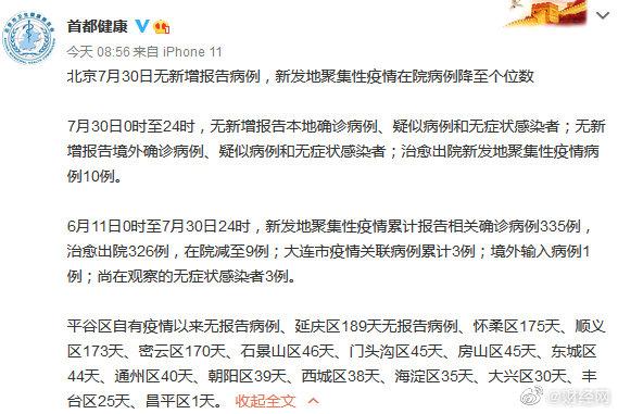 【#北京回归零新增#,#新发地聚集性疫情在院病例降至个位数#】据@首都健康 ,7月30日0时至24时,北京无新增报告本地确诊病例、疑似病例和无症状感染者;无新增报告境外确诊病例、疑似病例和无症状感染者;治愈出院新发地聚集性疫情病例10例。6月11日0时至7月30日24时,新发地聚集性疫情累计报告相关确 