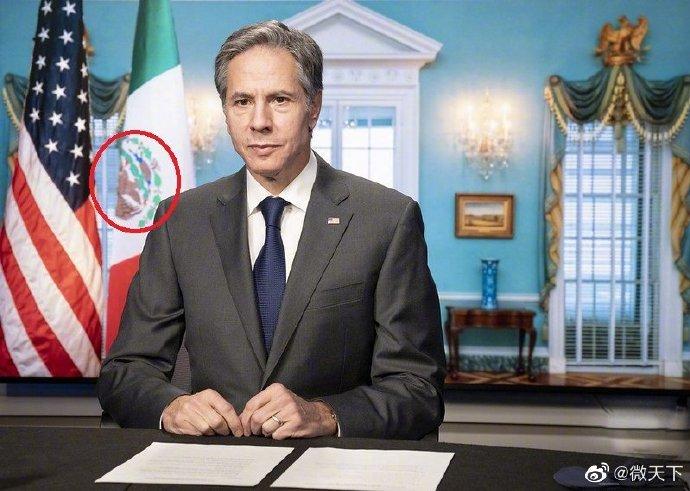 #美国务卿展示倒挂的墨西哥国旗#美国,故意把墨西哥的鹰头朝下…… 