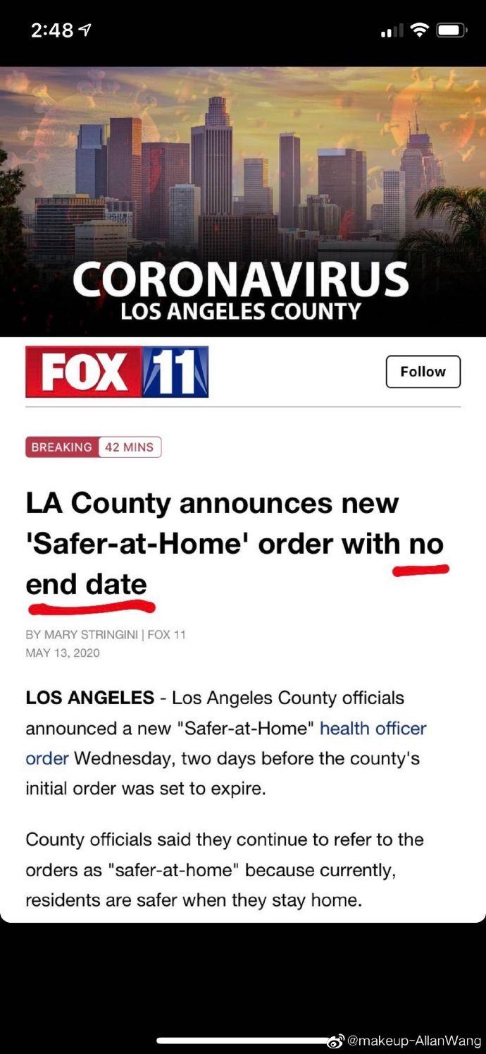 """#美国疫情一瞥# 今天加州政府宣布:将延长""""at stay home """"命令到8月,并且暂时没有结束日期。两天前,政府宣布命令已经过期,准备复工。现在由于加州感染病例突然猛增,于是州政府做了以上决定。 http://t.cn/R8FxtY1 """
