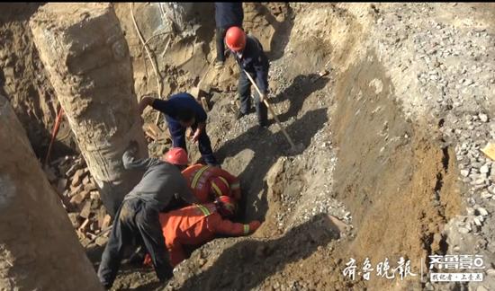 菏澤一工地坍塌1人被埋 菏澤消防快速救援