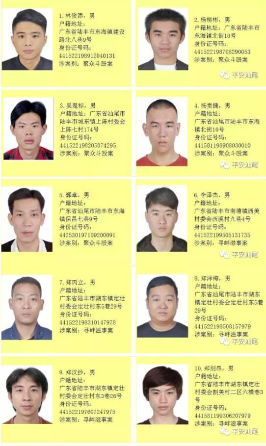 汕尾悬赏追嫌犯:122名涉黑恶在逃人员被公布