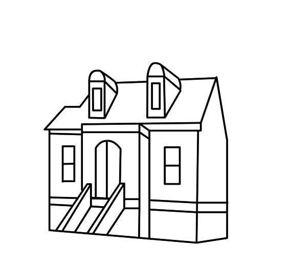 屋建筑简笔画_儿童简笔画房子的画法
