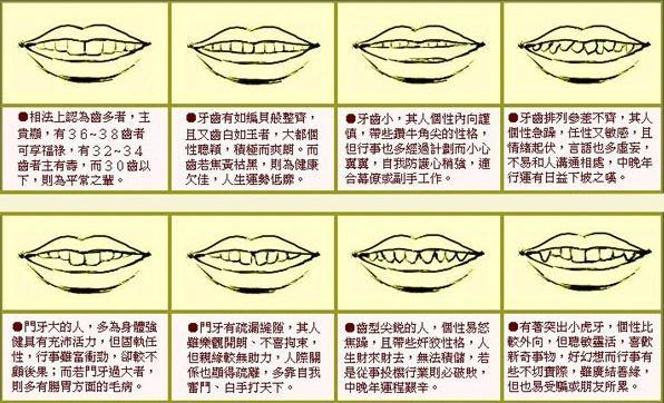 面相分析_详细分析: 面相算命图解牙齿各种长相带来的运势, 不看你会后悔!