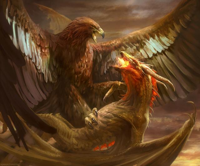 外国龙_浓墨重彩的怪诞系列插画:西方龙大战巨鹰,还有邪恶的瘟疫之神