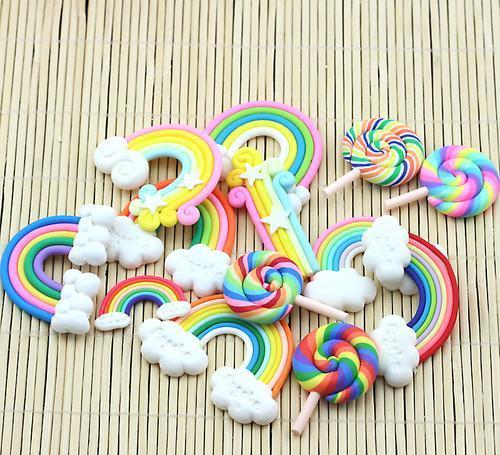 軟陶彩虹云朵棒棒糖手工diy食玩奶油土粘土手機殼材料包套餐工具圖片