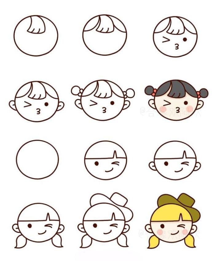 用圆形画出的简笔画小头像,喜欢的收了慢慢画吧 cr 财经头条图片