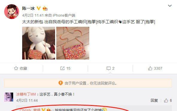 陈一冰微博秀妻子新挎包,显家庭生活节俭,单竞缇:这也发微博?