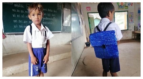 穷到没钱买书包!柬埔寨慈父熬夜编织蓝色尼龙包 网友:求开团购