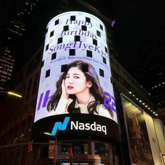 宋慧乔在纽约时报广场刊登生日广告 全球人气的证明