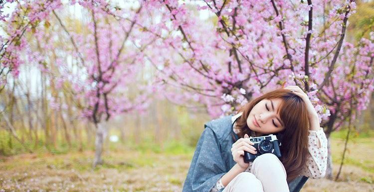 摄影分享:女孩桃花林中唯美自拍图片