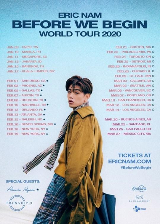 Eric Nam首次举办世界巡回演唱会 预热2020年的开始
