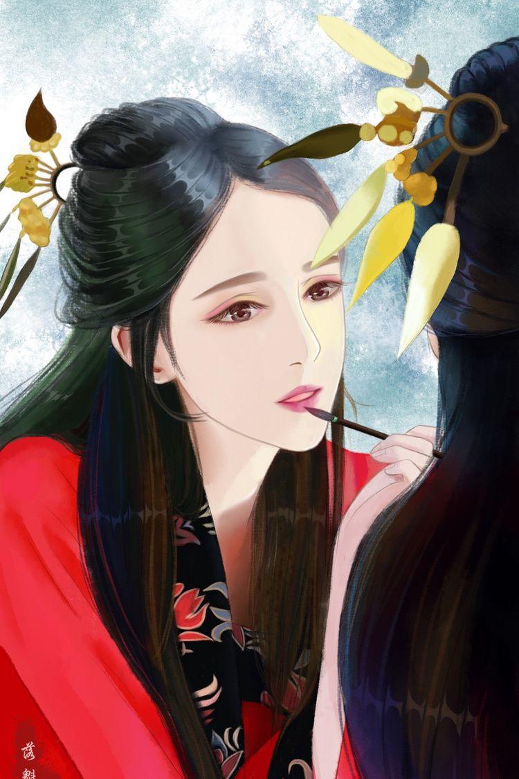 古风手绘妖娆红衣美人壁纸 待你青丝绾正 铺十里红妆可愿 高清图集