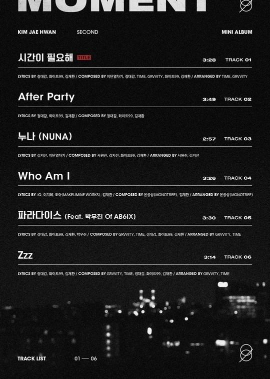 金在奂公开2nd迷你专辑的唱片目录 AB6IX朴佑镇参与制作