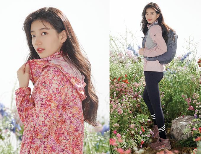 裴秀智早春准备 为代言品牌拍摄清新而亮丽的户外装