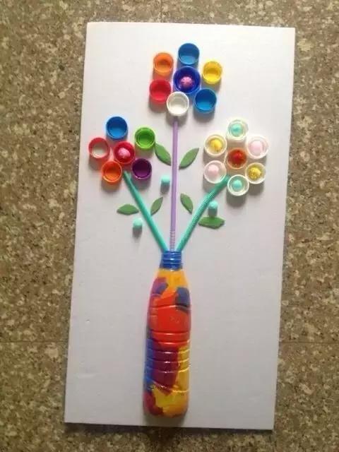 幼兒園瓶蓋創意畫欣賞圖片