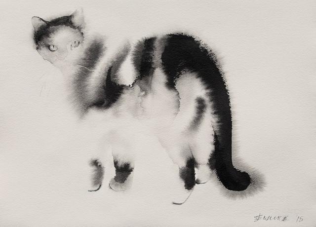 创意水彩画作品!猫