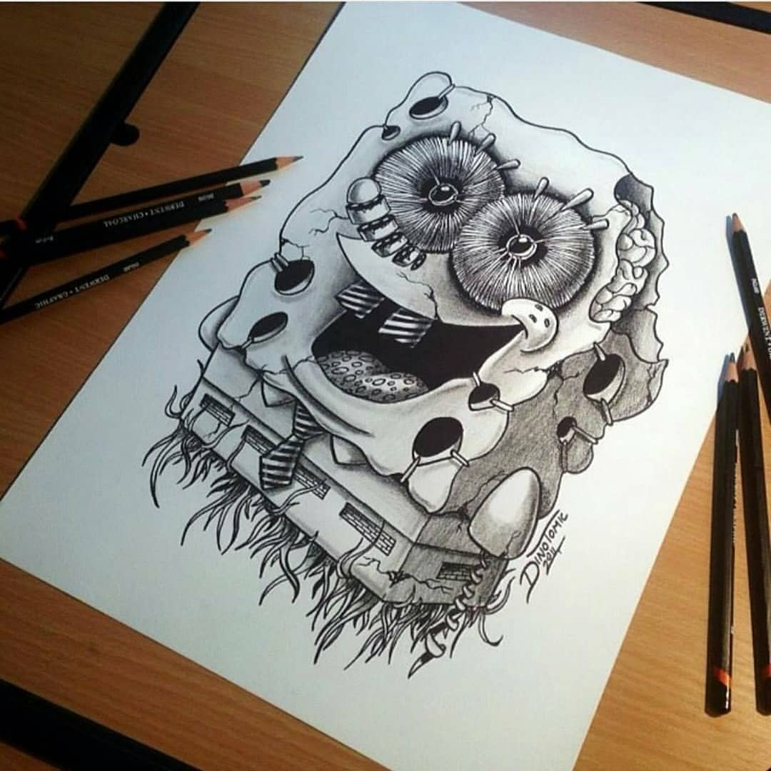 创意黑白插画