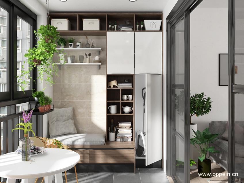 靠墻定制的陽臺柜,開放格,帶門柜兼具,更好收納不同物品.圖片