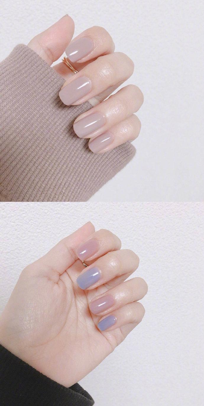 方形纯色指甲_温柔气质的纯色系美甲