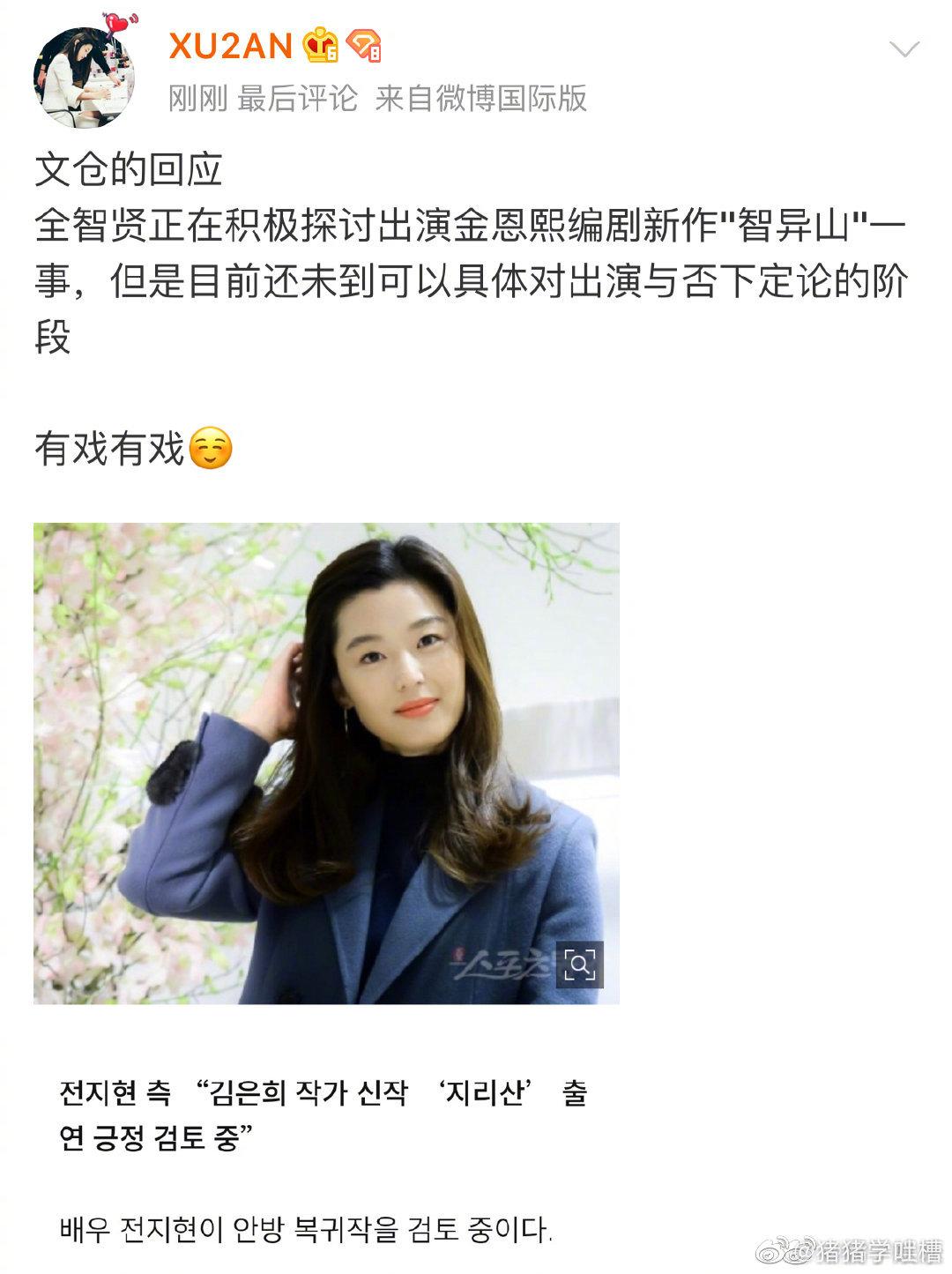 韓媒稱,全智賢將出演《signal》編劇金恩熙新劇《智異山》圖片