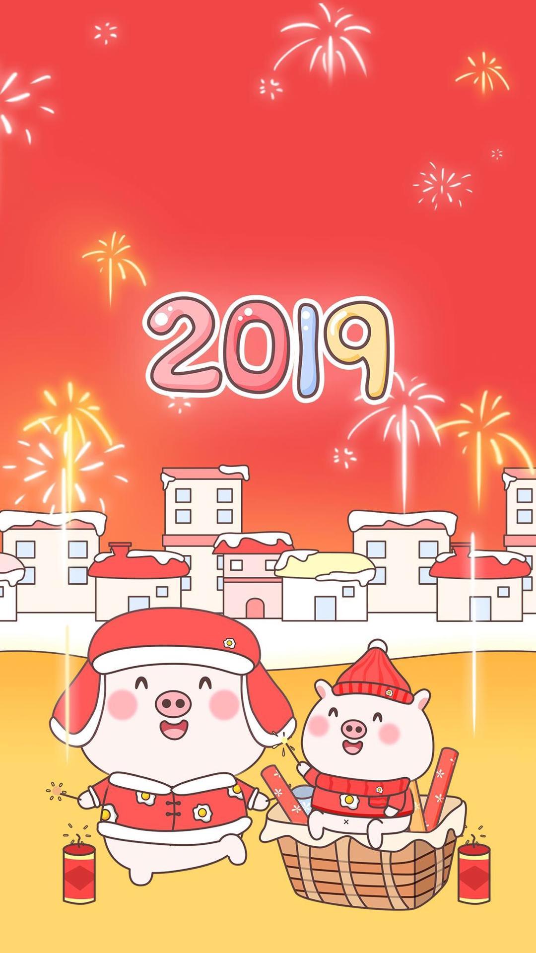 2019,新年卡通可愛豬年手機壁紙,祝大家豬事順利
