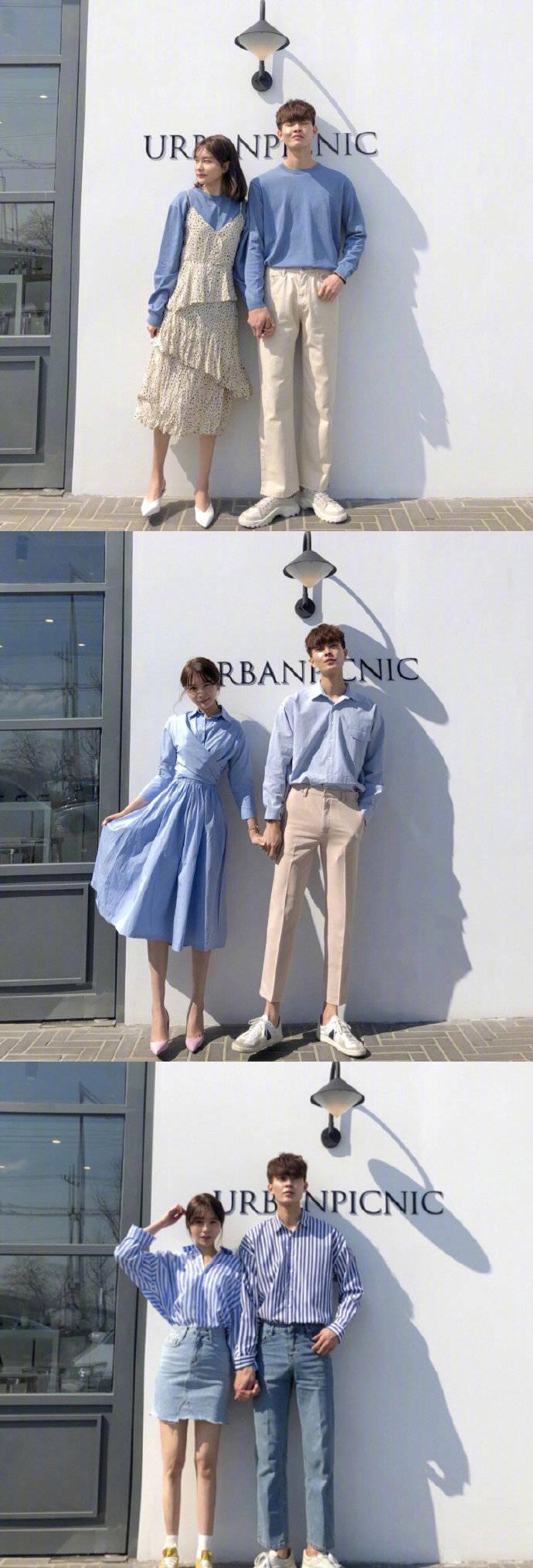 同色系簡約又上鏡的春季情侶裝穿搭圖片