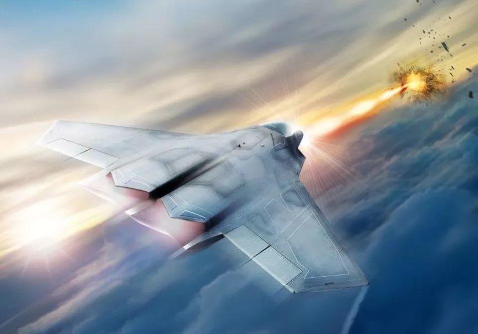 ▲艺术家绘制的美军六代机使用激光武器摧毁目标示意图。