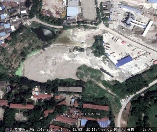 2017年7月卫星图片显示,水塘已被全部填满。
