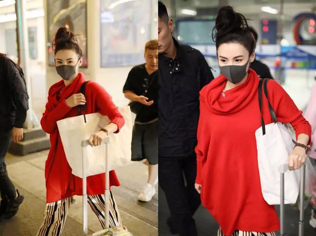 张柏芝近照少女感十足,高扎丸子头随性可爱,红衣条纹裤时尚休闲