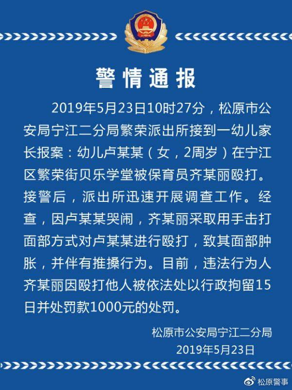 新万博manbetx下载app松原一幼儿园保育员殴打2岁幼儿 警方:拘留15日