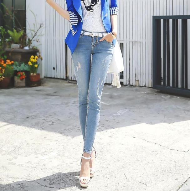 潮流牛仔裤,新的时尚元素,做个帅气的女生