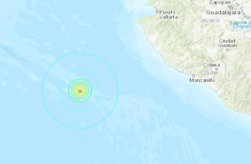 墨西哥西南部海域发生5.8级地震。(图片来源:美国地质勘探局网站截图)