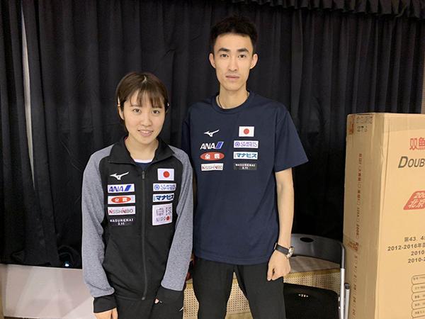 平野美宇和主管教练张成。。