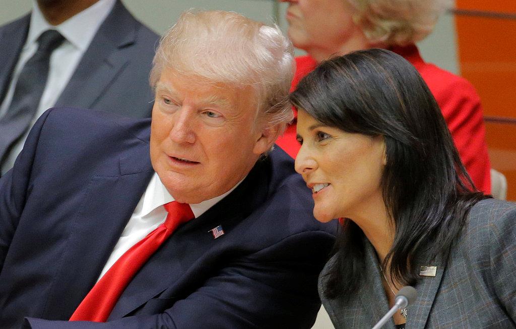 2017年9月美国总统与时任美国驻说相符国大使妮基•暗莉出席说相符国大会。图/视觉中国