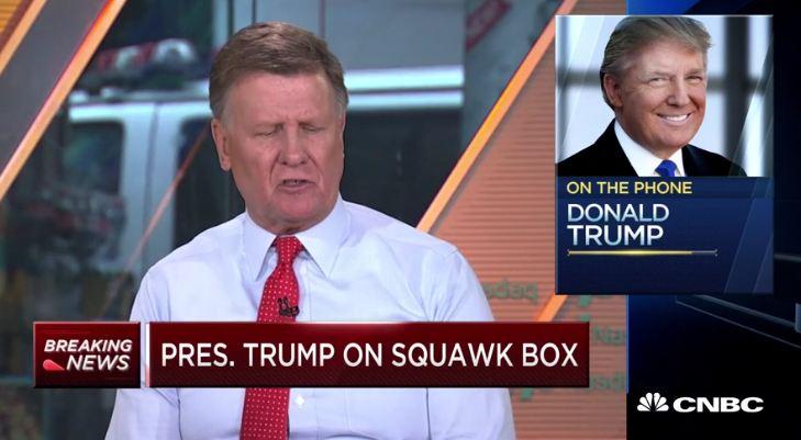 CNBC连线特朗普 视频截图