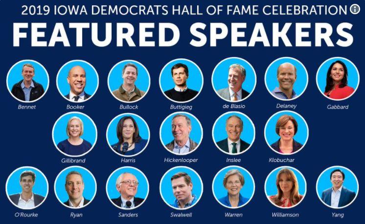 尋求民主黨2020年大選提名的19位參選人齊聚艾奧瓦州(圖源:艾奧瓦州民主黨推特)