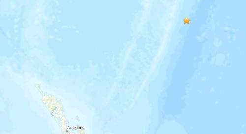 新西兰北部海域发生5.3级地震。(图片来源:美国地质勘探局网站截图)