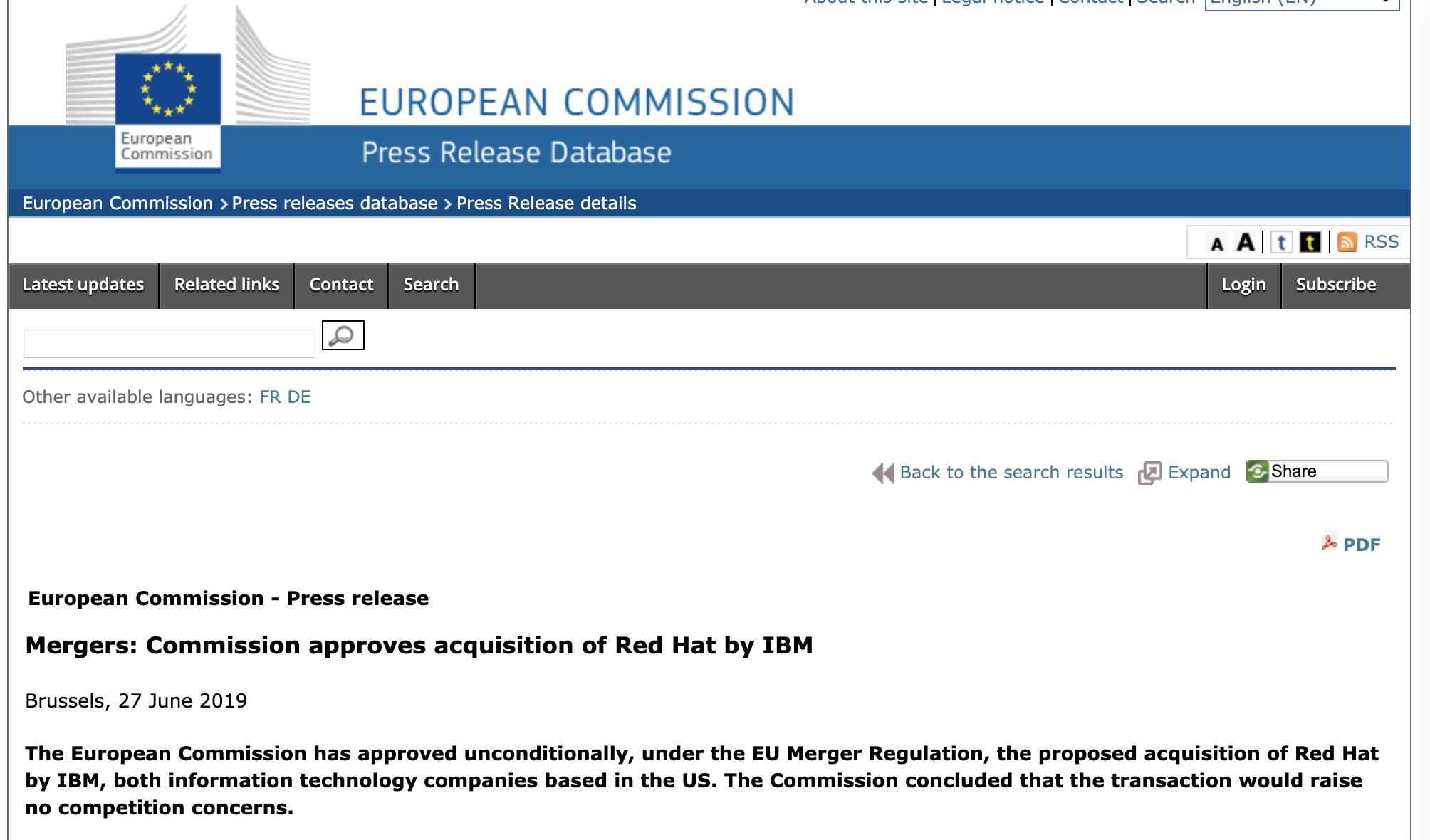6月27日,欧盟发布公告称欧盟委员会已经无条件准许IBM收购红帽