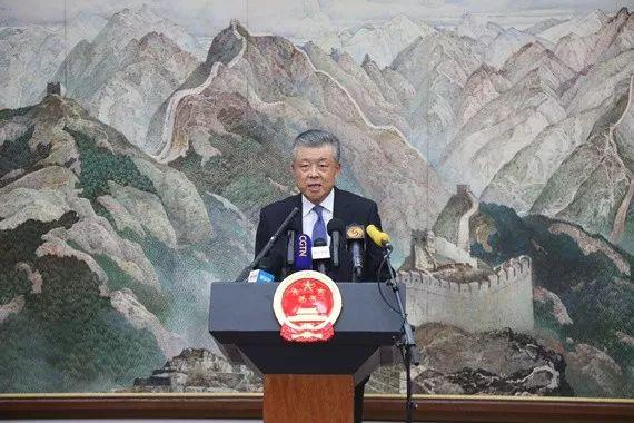▲驻英国大使刘晓明就香港特别行政区发生暴力冲击立法会事件举行中外记者会。(中国驻英大使馆官网)