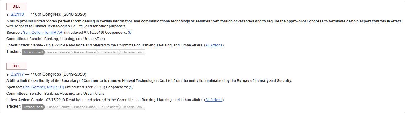 卢比奥此前的两个议案 图自美国国会官网