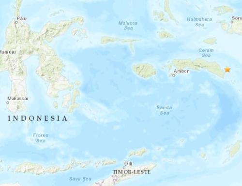 印尼东部海域发生5.2级地震 震源深度25.9千米