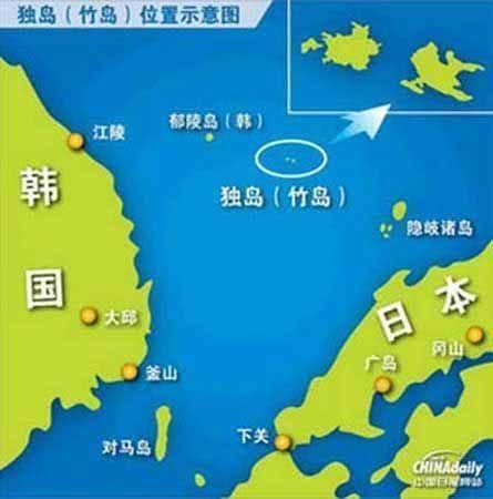 独岛(日本名:竹岛)位置示意图