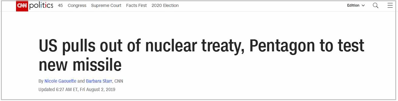 真的365网站多少-退出中导条约后 美宣布全面研发陆基常规中程导弹